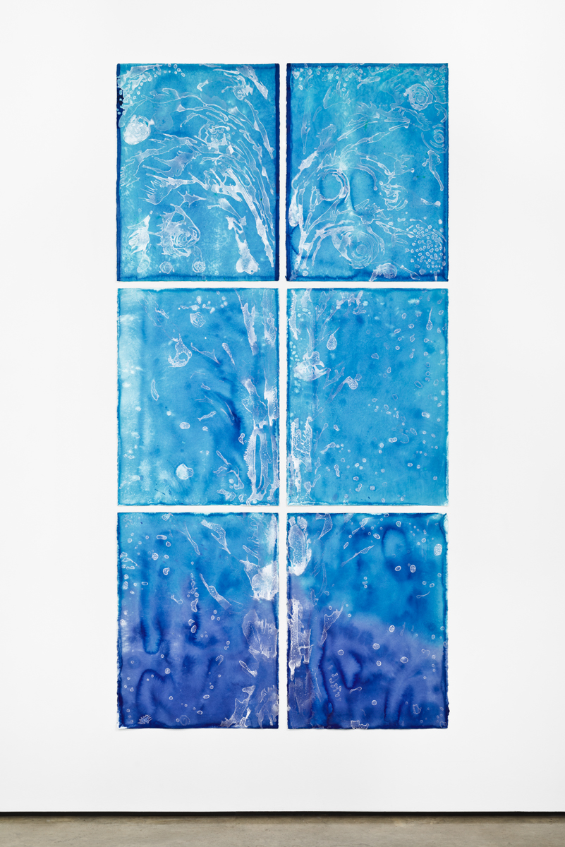 """Fountain (Exhale)   Sea salt crystals and inks on watercolor paper 94""""H x 46""""W (6 pieces – each 30""""H x 22""""W) 2017"""