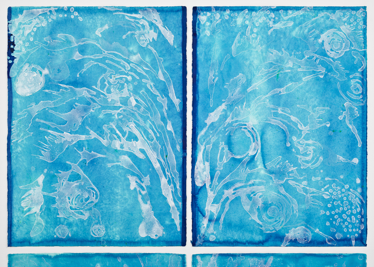 """Fountain (Exhale) --  Detail: 30""""H X46""""W Top two sheets of paper – each 30""""H x 22""""W Sea salt crystals and inks on watercolor paper 2017"""