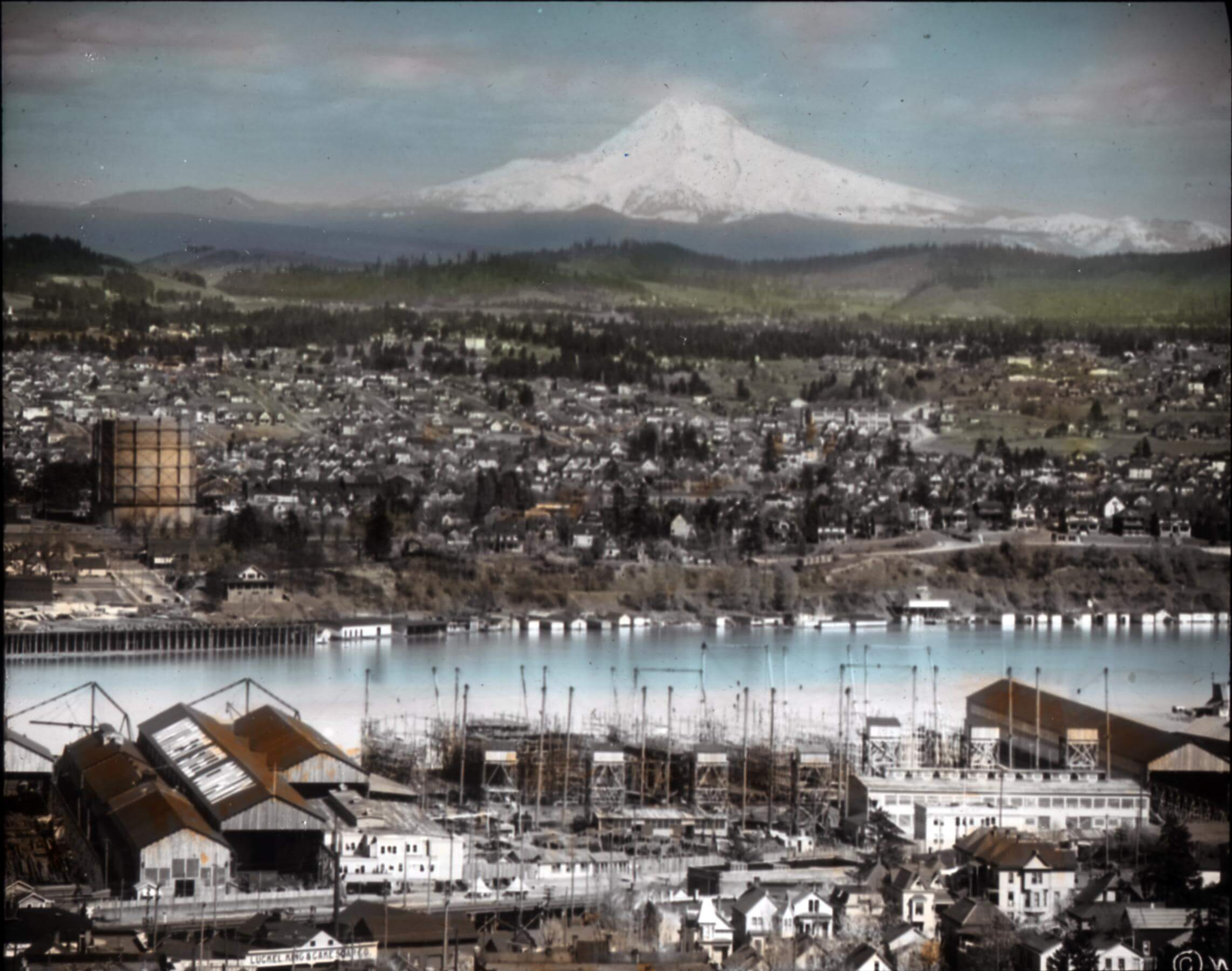 Mt. Hood (a view of it, anyway) is among Portland's sirens.  [  OSU Special Collections & Archives  ]