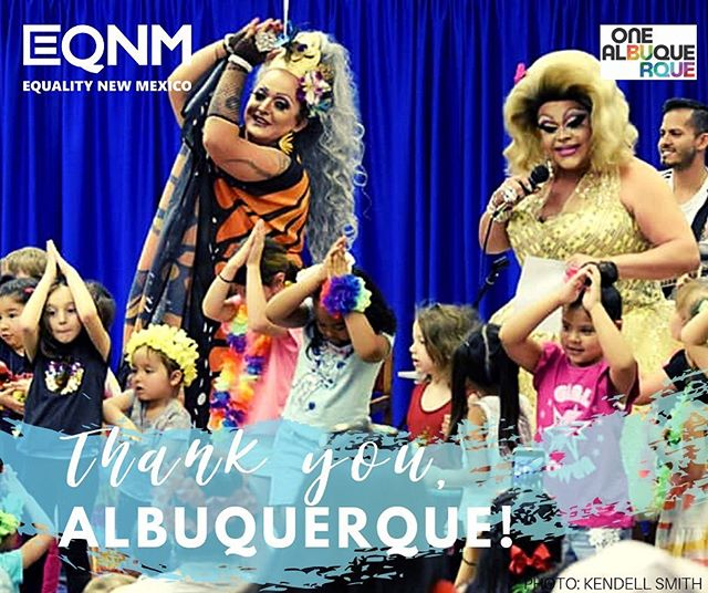 Today, we celebrate you, Albuquerque. We are so proud to have been a part of bringing you Drag Queen Storytime because Y'ALL TURNED OUT to support trans and queer inclusivity in programming at The Public Library Albuquerque Bernalillo County. Representation matters--LGBTQ+ children and families deserve to see themselves represented in programming.  Thank you to Bunnie Benton Cruse, Vanessa Patricks, and Armani Daniels for performing. We all owe the Public Library staff a huge thank you for all of their work to make this happen. Big thanks to Councilor @patdavisnm and @mayorkeller for working with @EQNM to make this happen, and for not backing down when bigots tried to shut it down.  Photo: @kendellsmithphotography