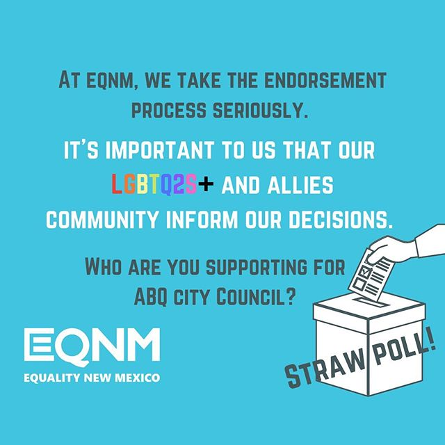 Just a few more days to participate in our STRAW POLL! We're making our endorsement decisions for Albuquerque's municipal elections coming up in November, and we're calling on you, our community, to help. Who are you supporting?