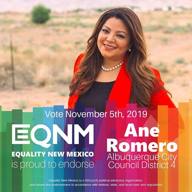 Our Board of Directors is proud to endorse @anecromero for @abqcitycouncil, District 4. Ane has worked tirelessly as an ally for the LGBTQ+ community — alongside advocates for legislation, with youth as a behavioral and suicide prevention specialist, and more. VOTE November 5th! #nmleg #nmpol