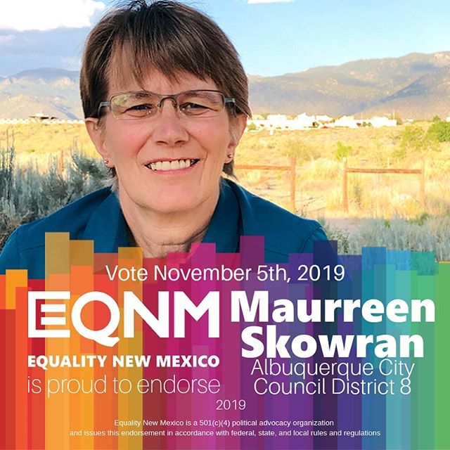 Maurreen Skowran has received our Board of Directors' endorsement for @abqcitycouncil District 8! We know Maurreen will engage with her district to make neighborhoods safe, expand community resources, create a vibrant local economy, and address the crises in homelessness, addiction, and mental health. VOTE November 5th!! #nmleg #nmpol