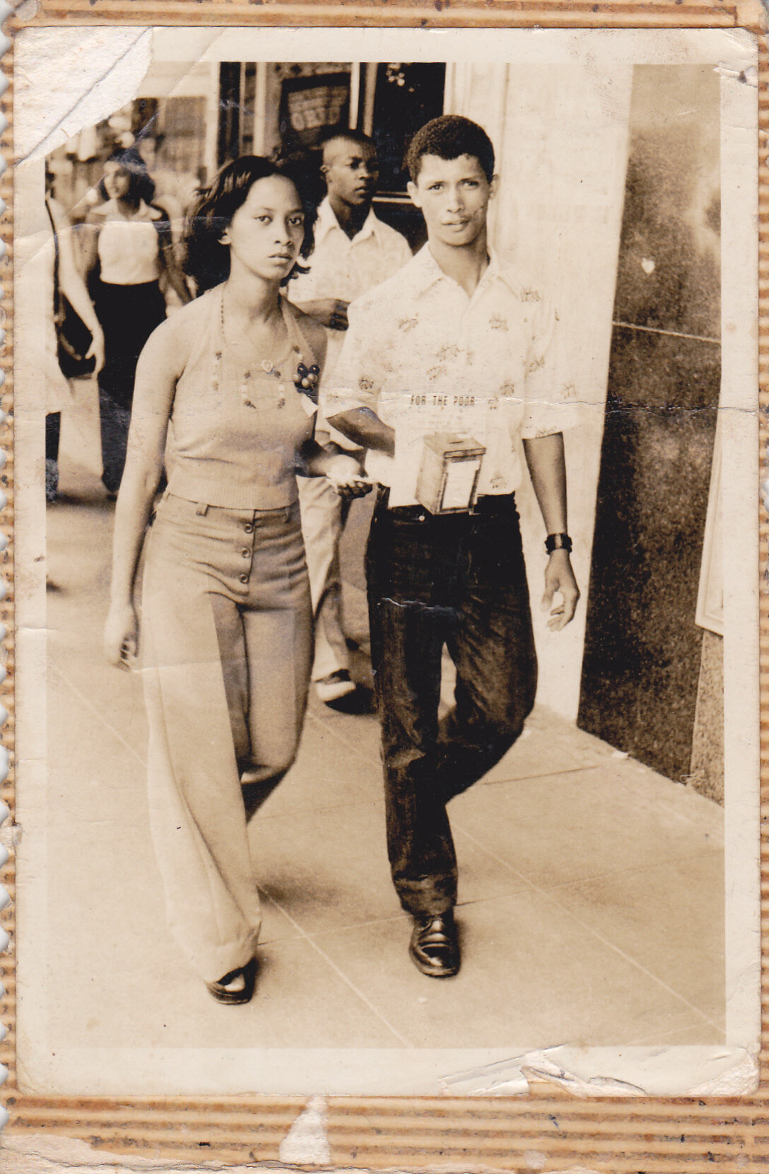 Joyce Williams and Anthony Solomons in Grey Street,Durban 1975.  (Photo courtesy: Lorin Sookool)