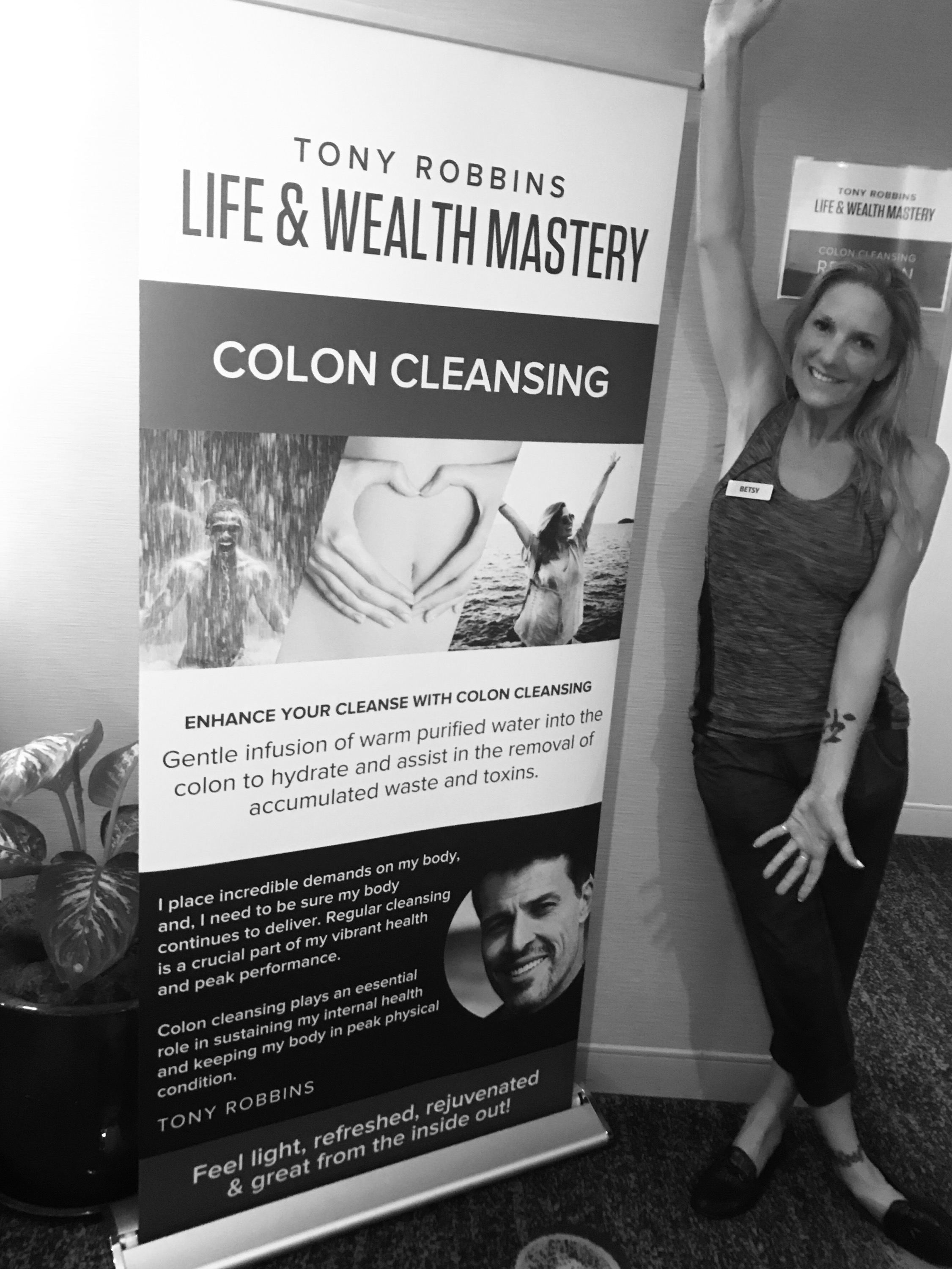 Pure On Main's own Betsy Exton has been assisting Tony Robbins for the past 6 years, performing colon cleansing for his event participants.