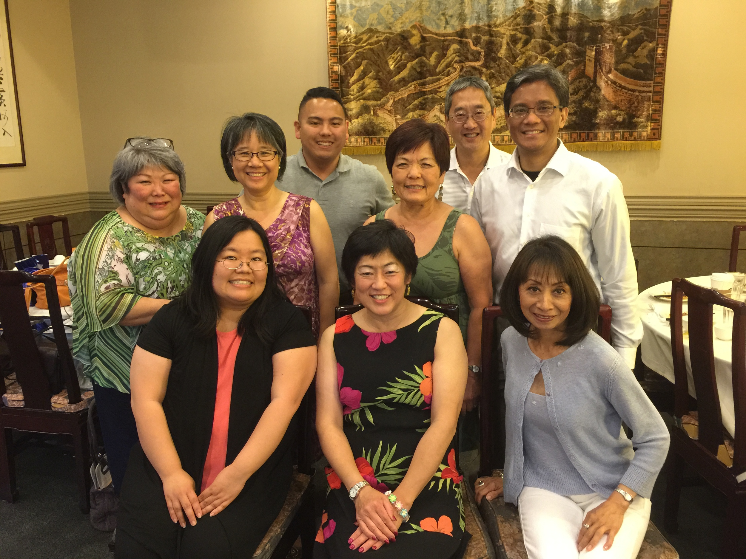 Recently, Marci attended an alumni dinner.    Back:  Sandy Hedington (EDI Board Member), Marie Chow, Joe Darza, Char Grinolds (EDI Co-Chair), Darryl Hue, and Ador Yano.   Front : Marci Nakano (EDI Executive Director), Elaine Kitamura, and Vanna Novak (EDI Board Member/Co-Founder)
