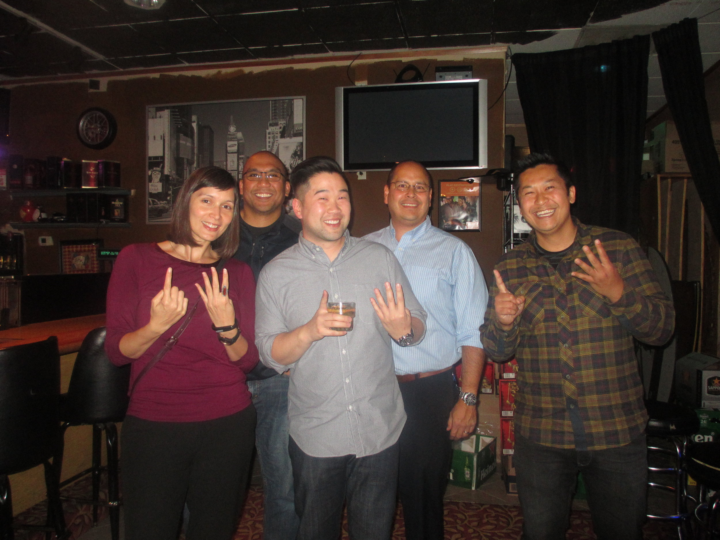 Class of 2014   Front: Jayna Dellatan, Simon Seid, Ken Lanehome   Class of 2011   Back: Ronson Ramos, Ryan Truair