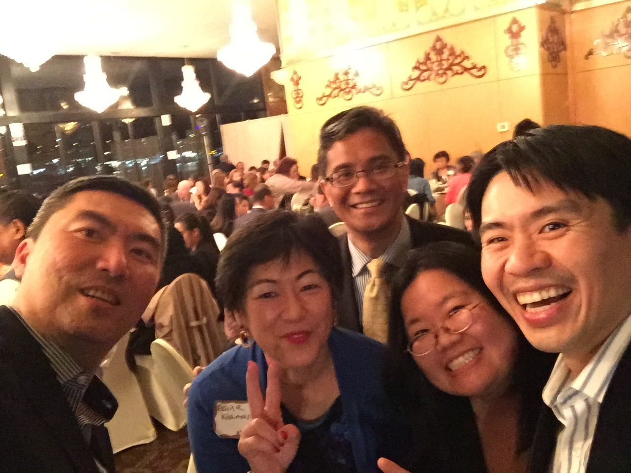 NW Asian Weekly Visionary Gala   Left to Right: Victor Chow, Elaine Kitamura (EDI Class of 1997), Ador Yano (EDI Class of 2004), Marci Nakano (EDI Executive Director & Class of 2005), Andreas Winardi (EDI Class of 2014)