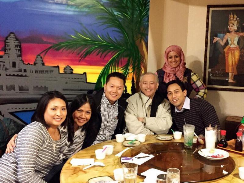 Left to Right: Tep Nishimura, Esla Inthaxai, Tri Do, Al Sugiyama,Aisha Al-Khinji, and Kyle Theptee have a Class of 2014 reunion.