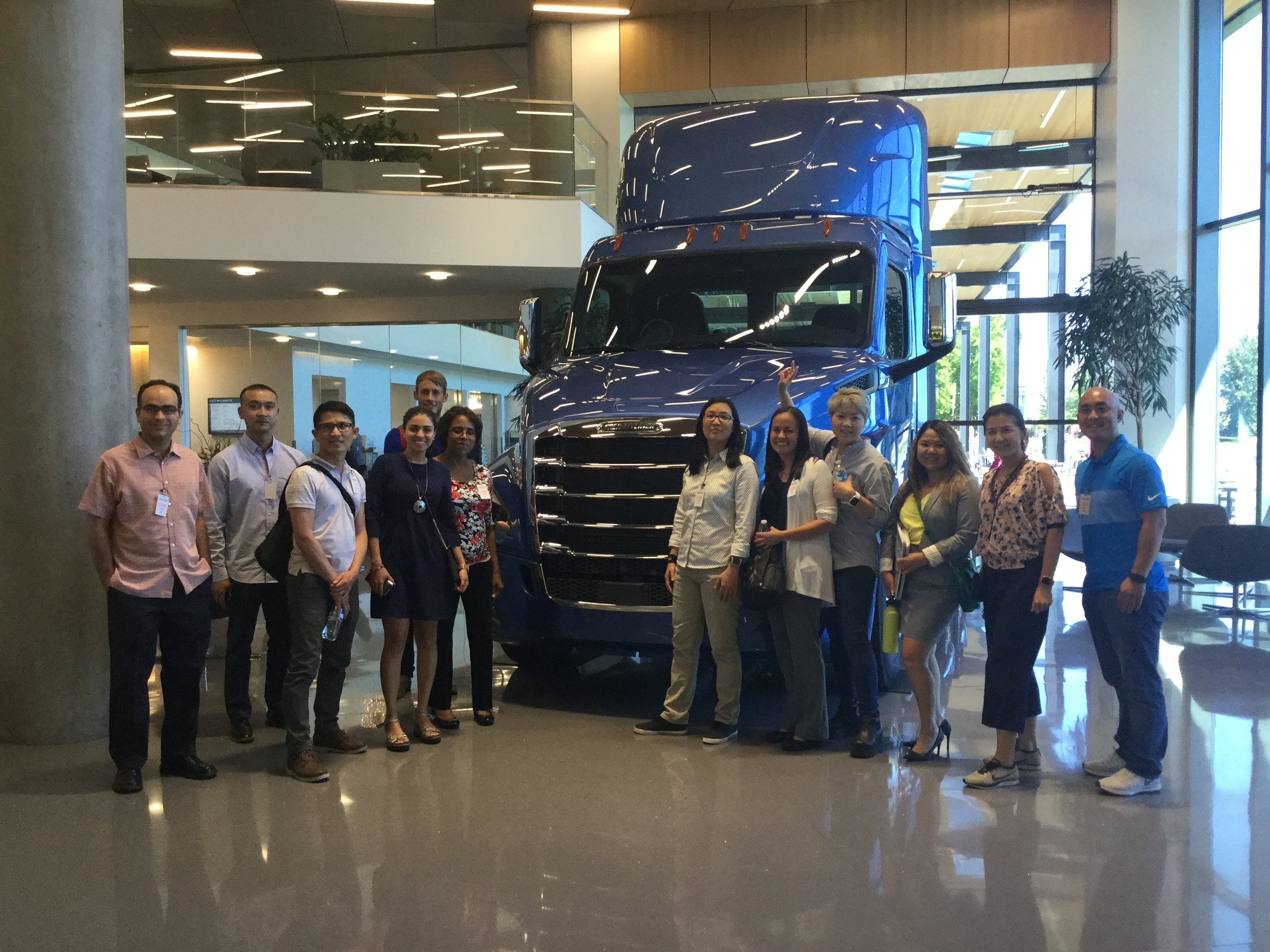 Christina and her classmates take a tour of Daimler Trucks North America post-session.