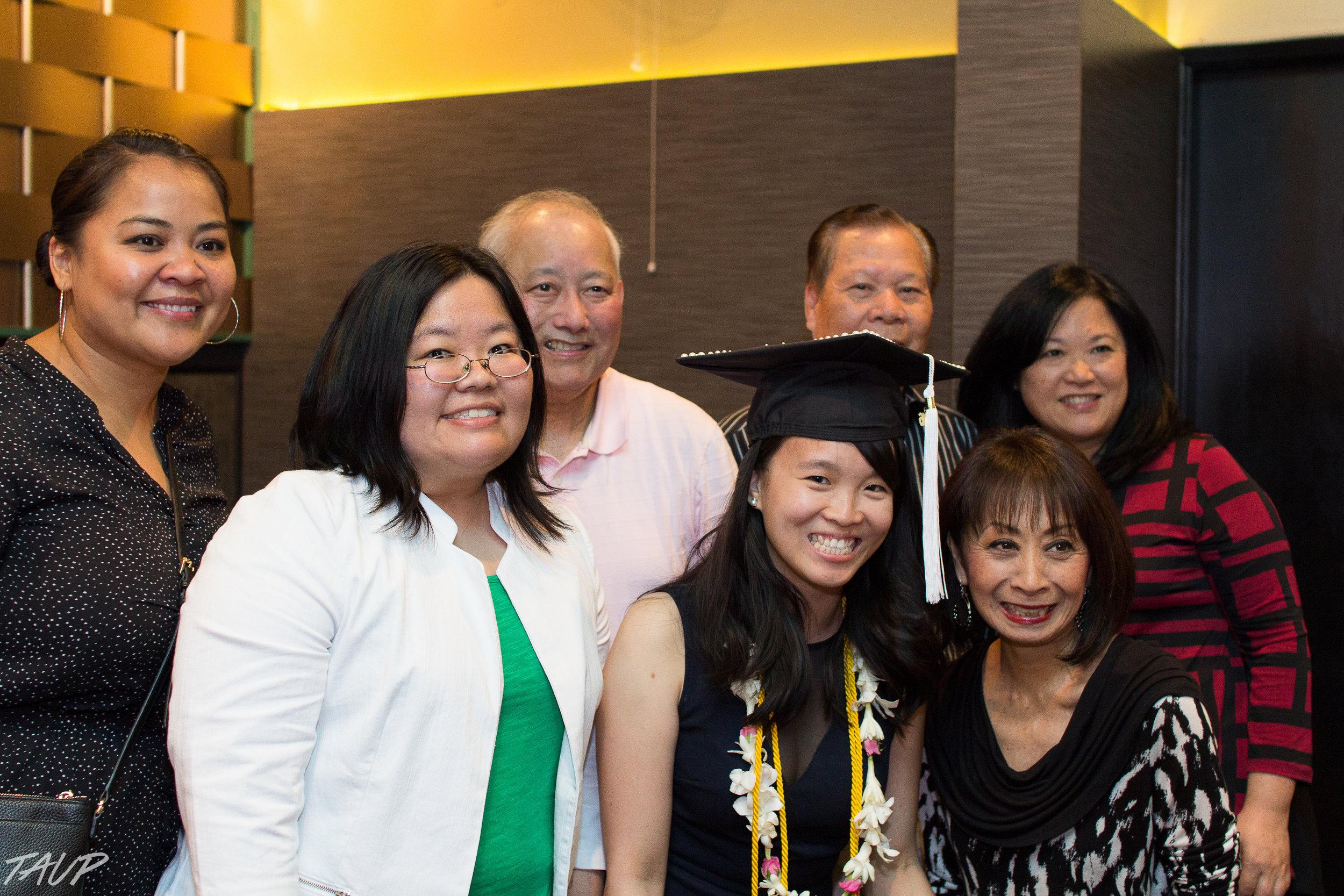 Pha Mom, Marci Nakano, Al Sugiyama, Chan Lo, Colleen Yamaguchi, and Vanna Novak celebrated Vivian's college graduation. Vivian graduated from University of Washington, Class of 2016, majoring in Creative Writing & Communication.