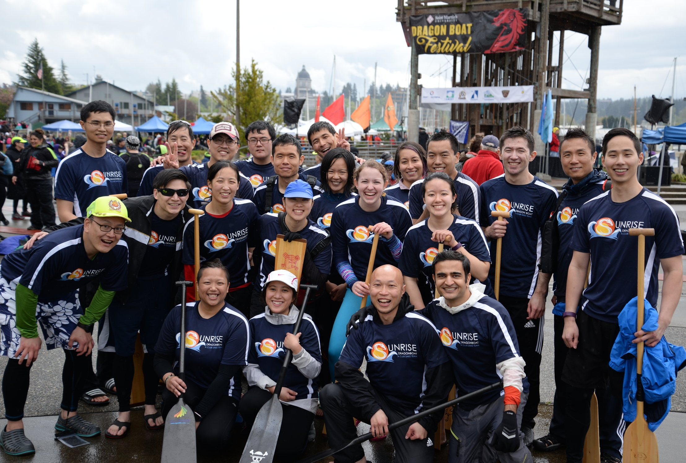 Diana Wong  (in the blue cap) with her Dragon Boat team  Puget Sound Discovery, Class of 2015
