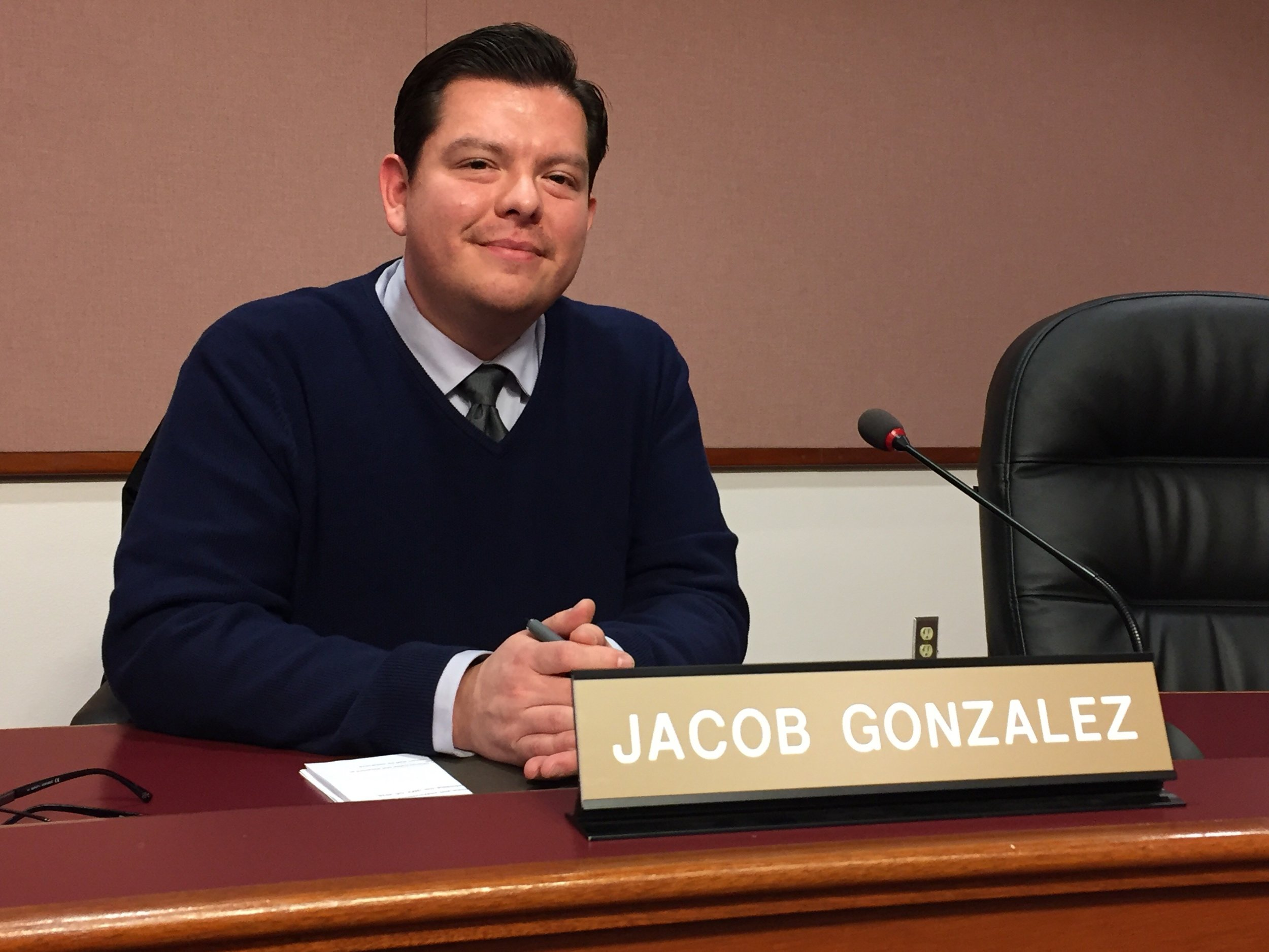 Jacob Gonzalez at a recent planning commission meeting.   Puget Sound Discovery, Class of 2018