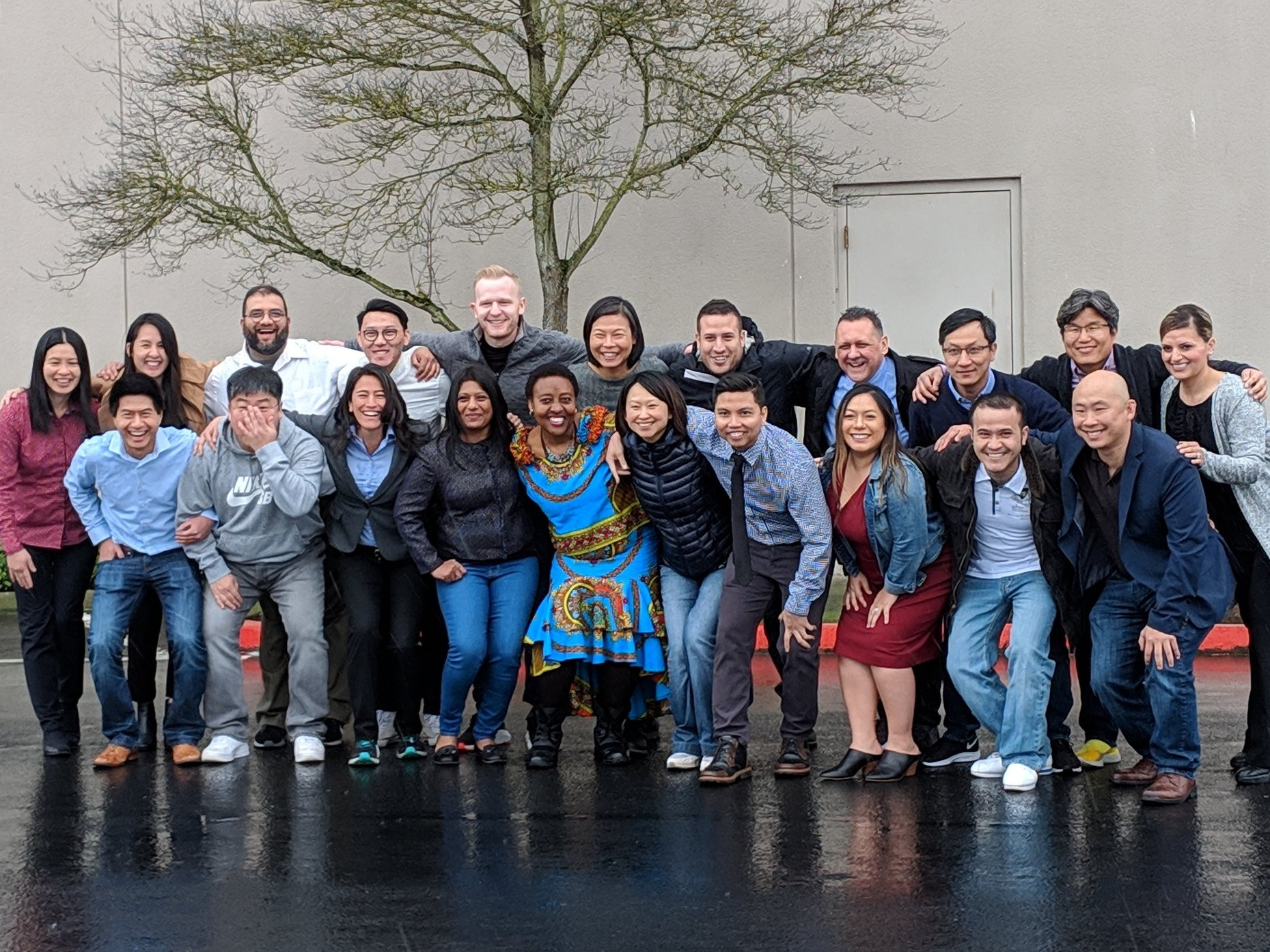 "The 2019 Leadership Discovery Portland cohort poses for pictures during their Kick-Off in March. They chose the team name ""All In"" for their group."