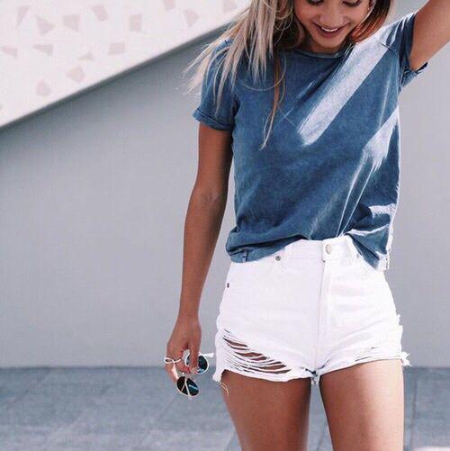 tea & white shorts