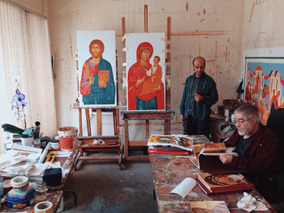 The icons of Christ and The Mother of God before gilding