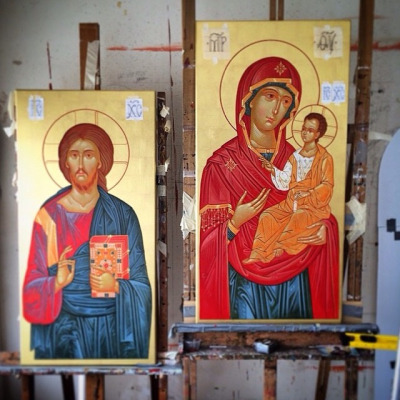The icons of Christ and The Mother of God before signing.