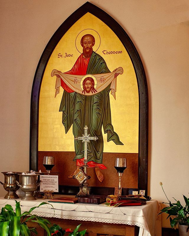 The icon of St. Jude of Thaddeus at the church of St. Catherine of Alexandria #stjude#saints#iconofssaintjude#churchdecoration#religiousmural#byzantine#byzantineart #byzantineiconography