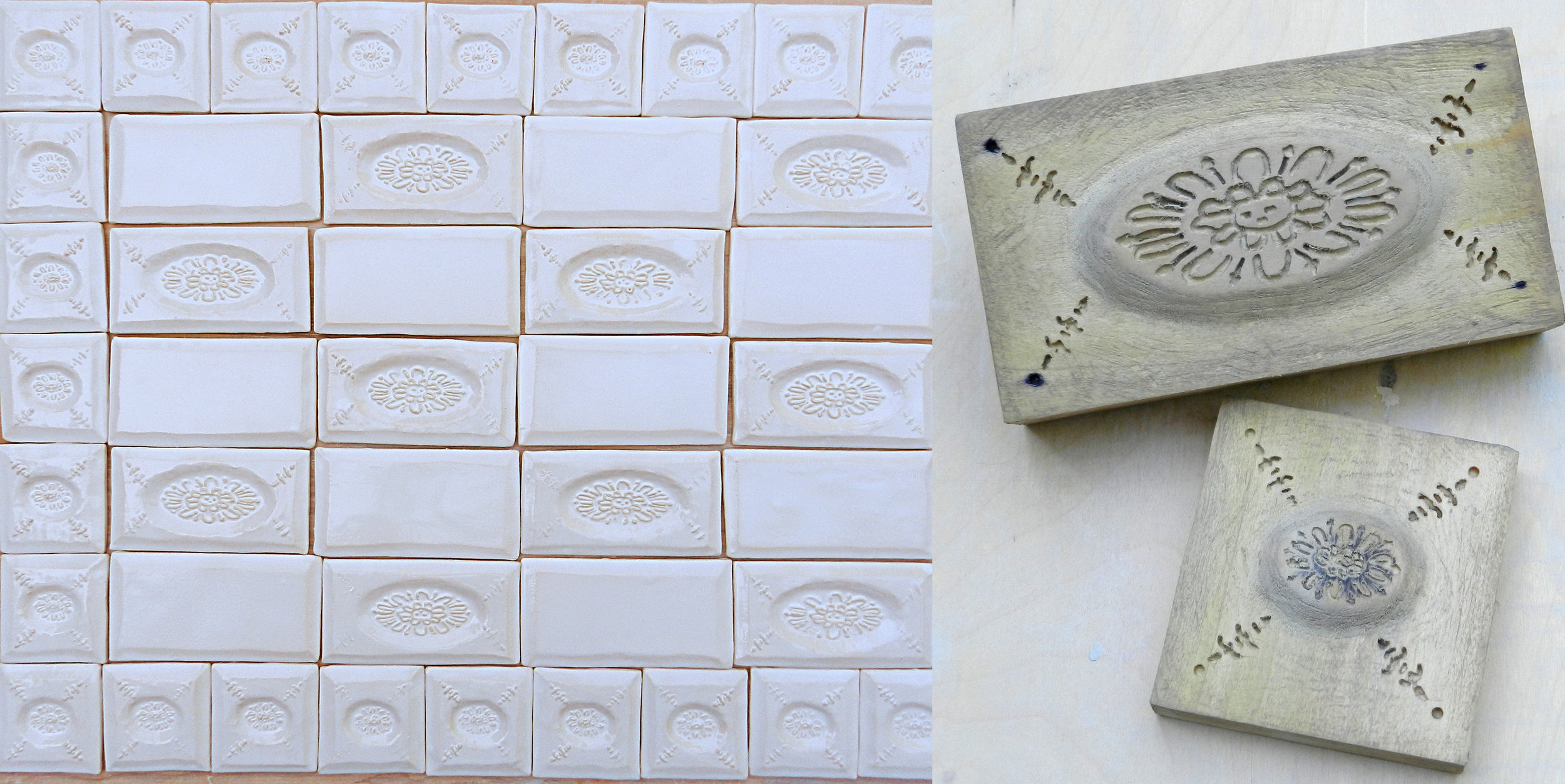 Loose tiles pictured in the studio (left), hand-carved wood molds used to create the Concordia decoratives (right).