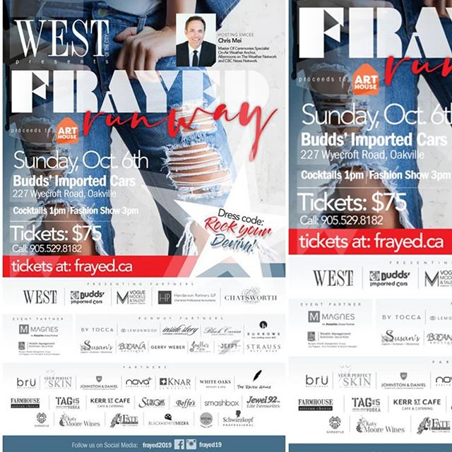 We are excited to be participating in this year's @frayed19 Frayed Fashion Show presented by @westofthecitymagazine West magazine! See the link for details. www.frayed.ca  #frayed19 #oakville #fashion #womenempowerment #bodycontour #venusskin #venuslegacy