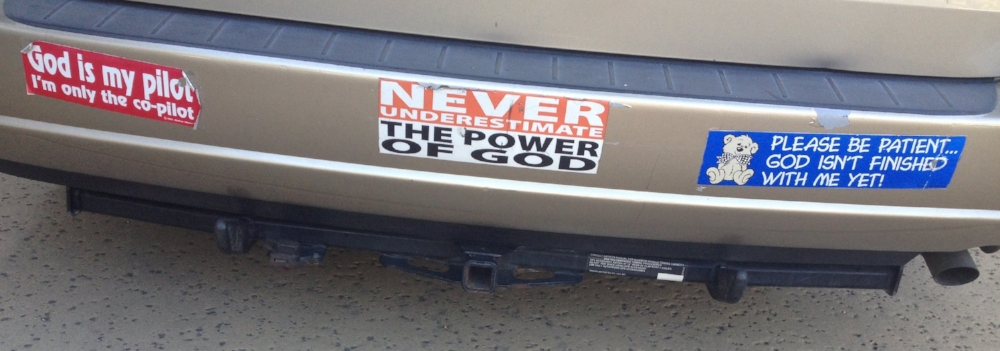 Encouraging bumper stickers as I worked through my stuff.
