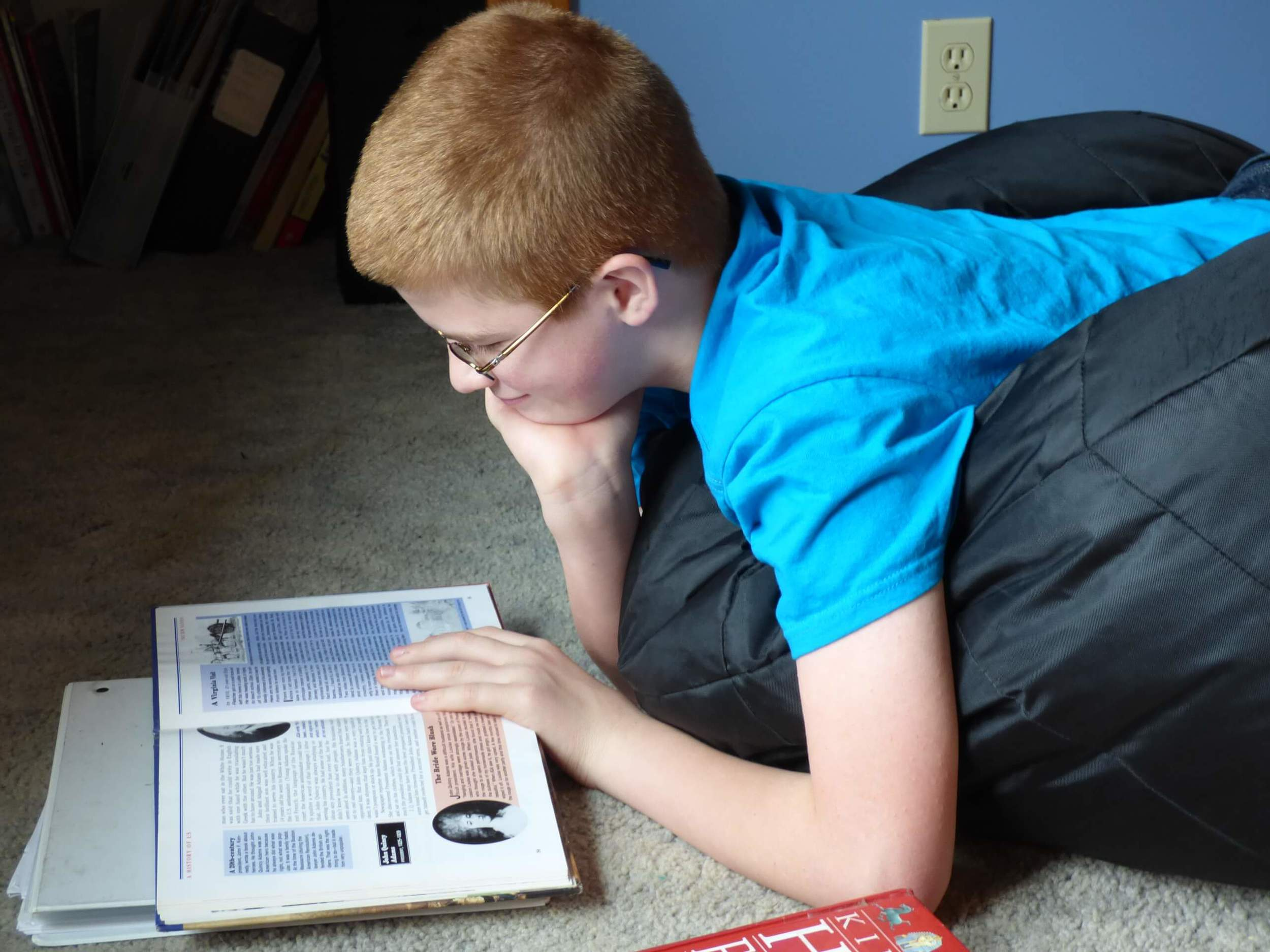 Reading history, LOTS & LOTS of History. He loves this!