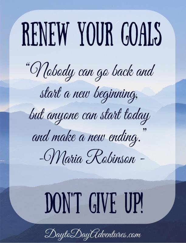 Renewing Goals - DaytoDayAdventures.com
