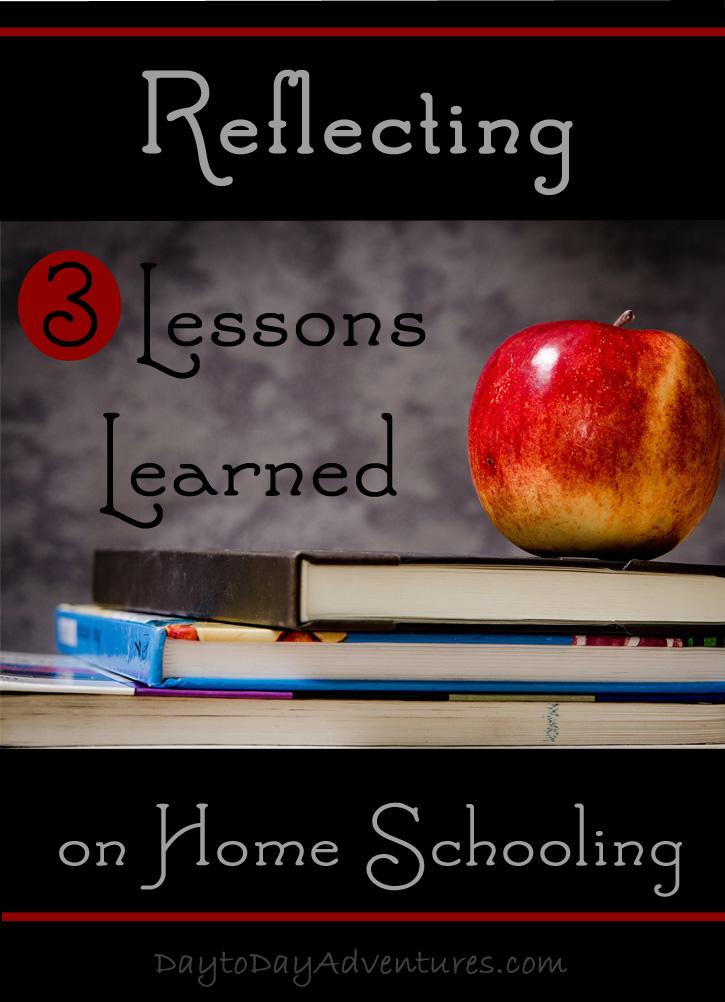 3 Lessons Learned from Reflecting on Homeschooling - What I learned from the questions I ask myself this year. What has worked? What hasn't? What are the needs of the children still at home? Are we covering the important things that we focused on with the older two?  - DaytoDayAdventures.com