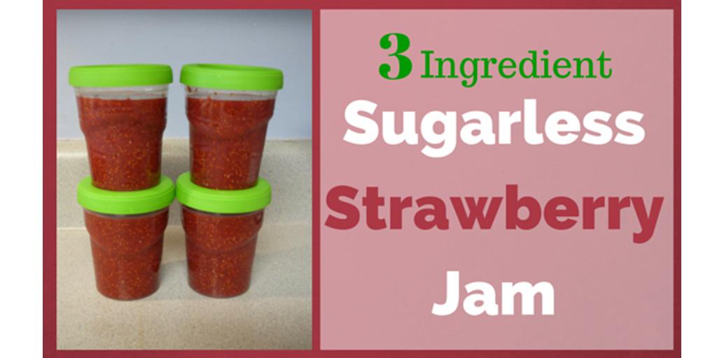 3 Ingredient Sugarless Strawberry Jam- DaytoDayAdventures.com