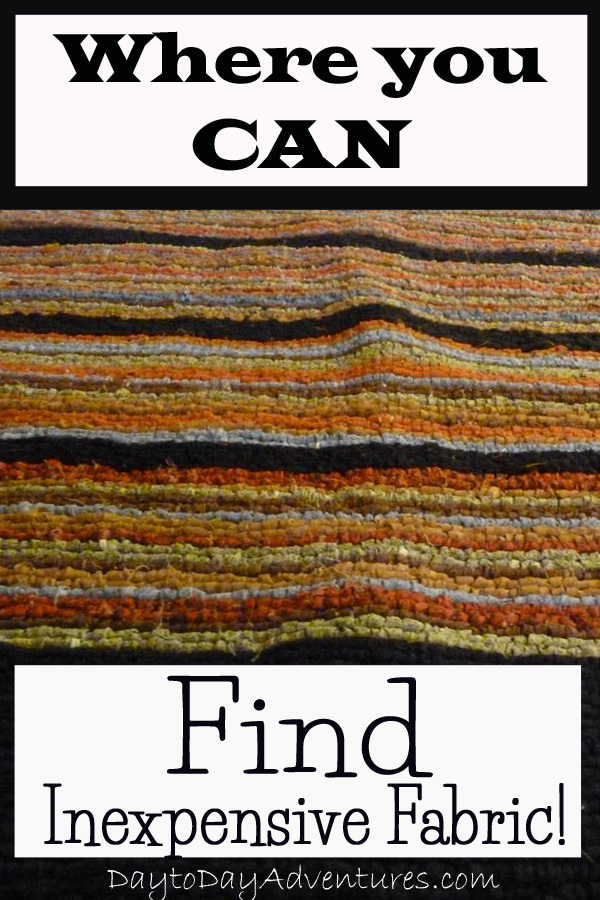 """Fabric can be really expensive but there are a few tricks to finding """"cheap"""" fabric for rag rug projects - DaytoDayAdventures.com"""