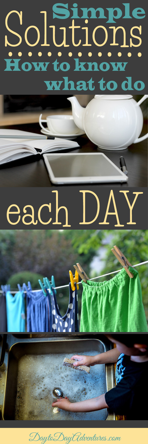 A simple solution!  How to use routines & habits to know what days of the week you need to do what.  It keeps me from letting the important things slip through the cracks - DaytoDayAdventures.com