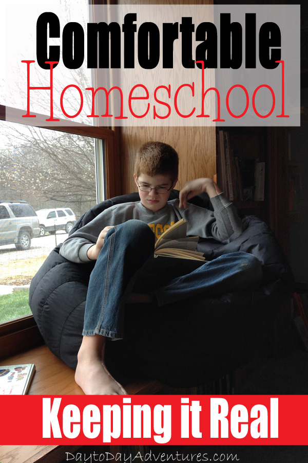 Some days are just better spent in PJs and comfy chairs.  Here's how we do the comfortable version of homeschooling! - DaytoDayAdventures.com