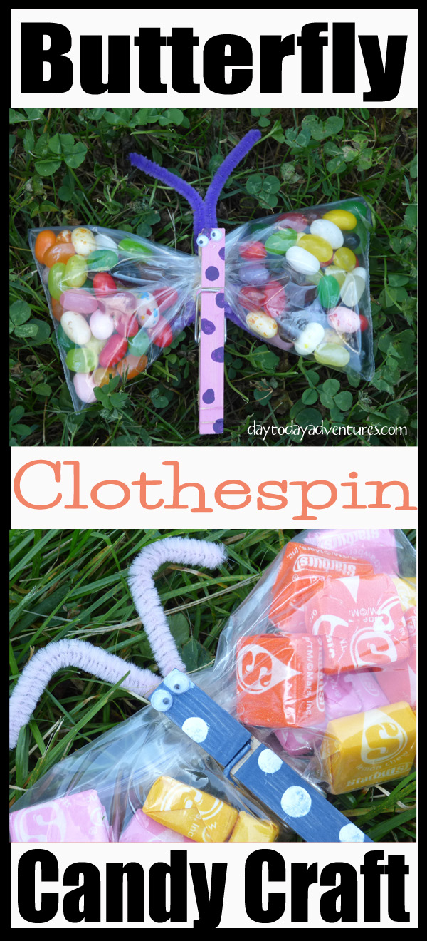 Make these cute butterflies using clothespins, paint, glue and pipe cleaners!  Great gift! - DaytoDayAdventures.com