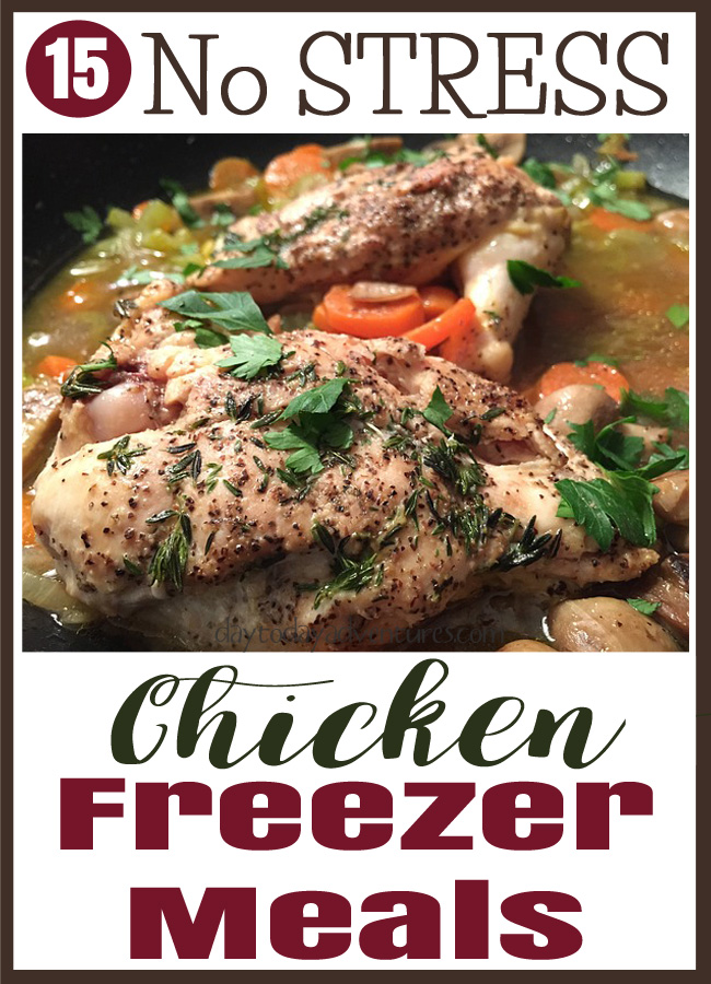 Going crazy at supper?  Is it HARD to get a healthy meal on the table quickly?  Check out these 15 no stress chicken freezer meals?  They save my life.  Seriously. - DaytoDayAdventures.com