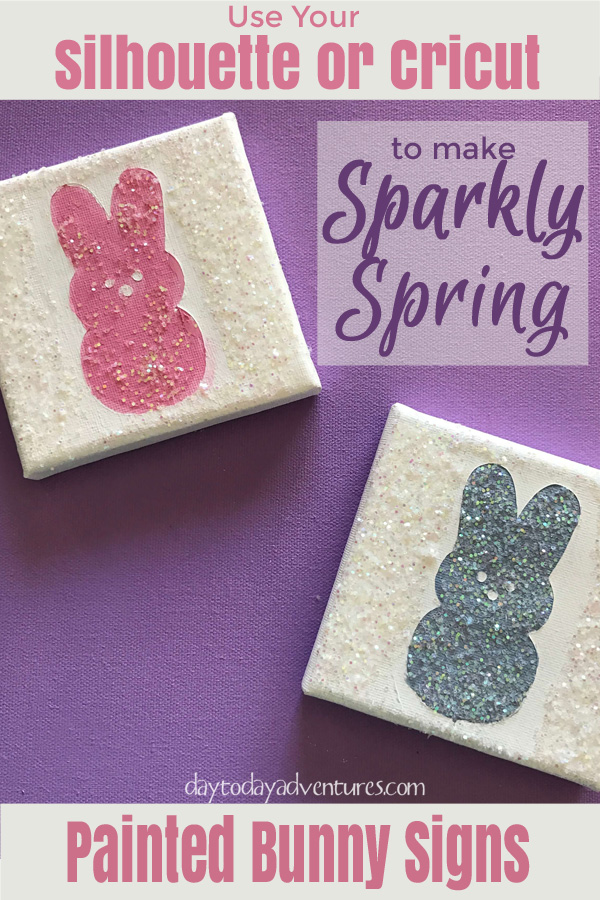 Use Silhouette or Cricut to make sparkly spring bunny signs - DaytoDayAdventures.com