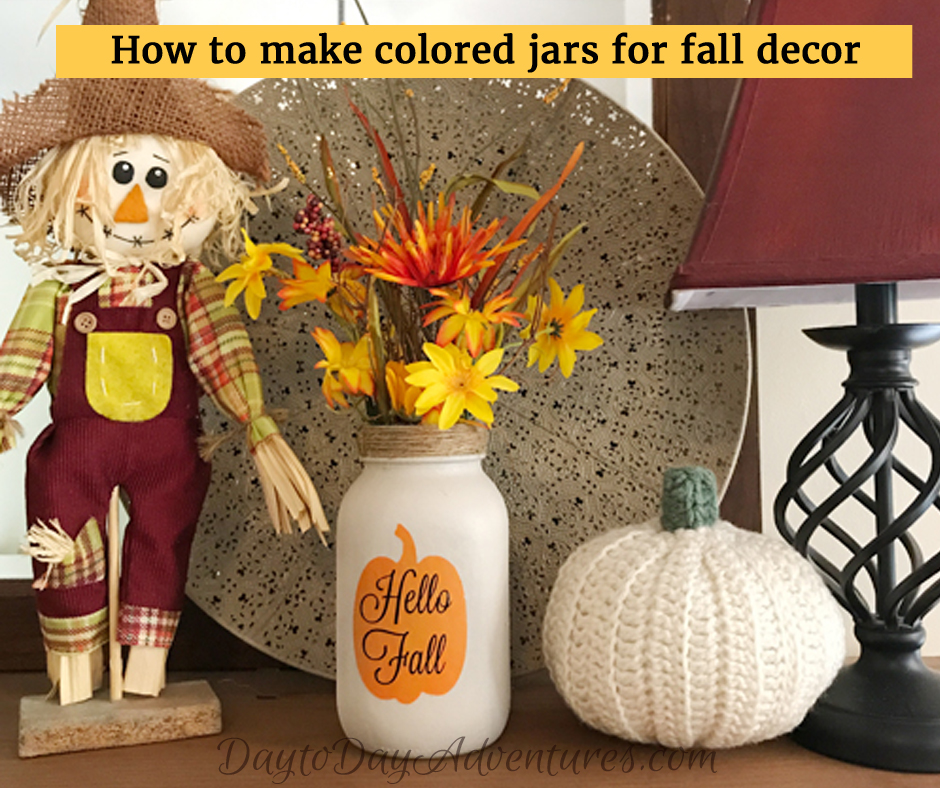 Spray Paint and Stenciling Colored Mason Jars for Fall Decor