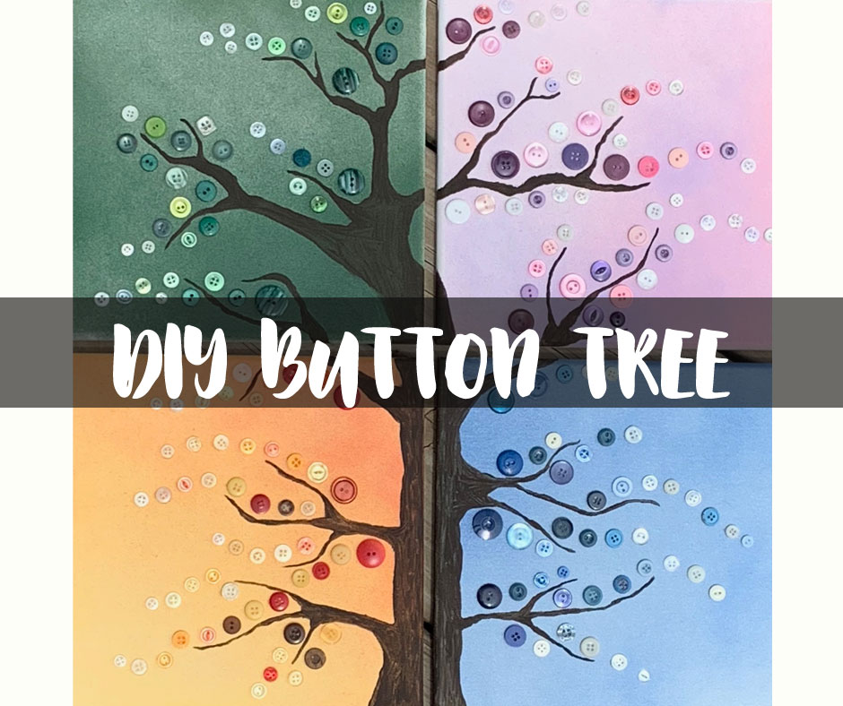 How to make a Four Season Button Tree #buttoncrafts #canvaspainting