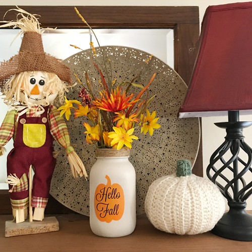 Spray Paint and Stenciling Mason Jars for Fall Decor