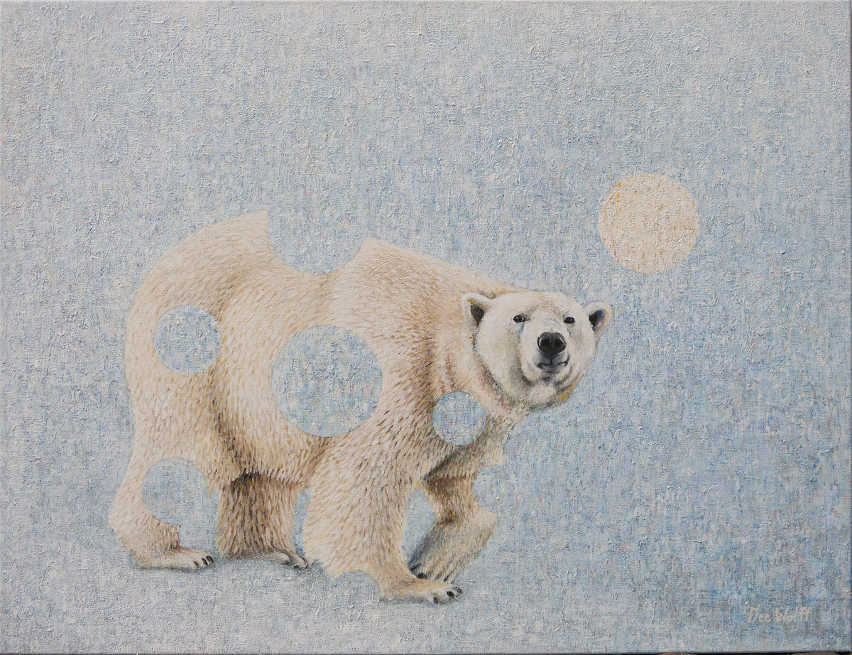 Happily I just finished this polar bear painting. I wish to donate money to help the arctic, when this painting sells. . .  Acrylic on canvas, 116,5 cm X 152,5 cm ( 46 inches X 60 inches), 2016  The painting is for sale at Gallerie Lorien, Copenhagen.  http://gallerie-lorien.com