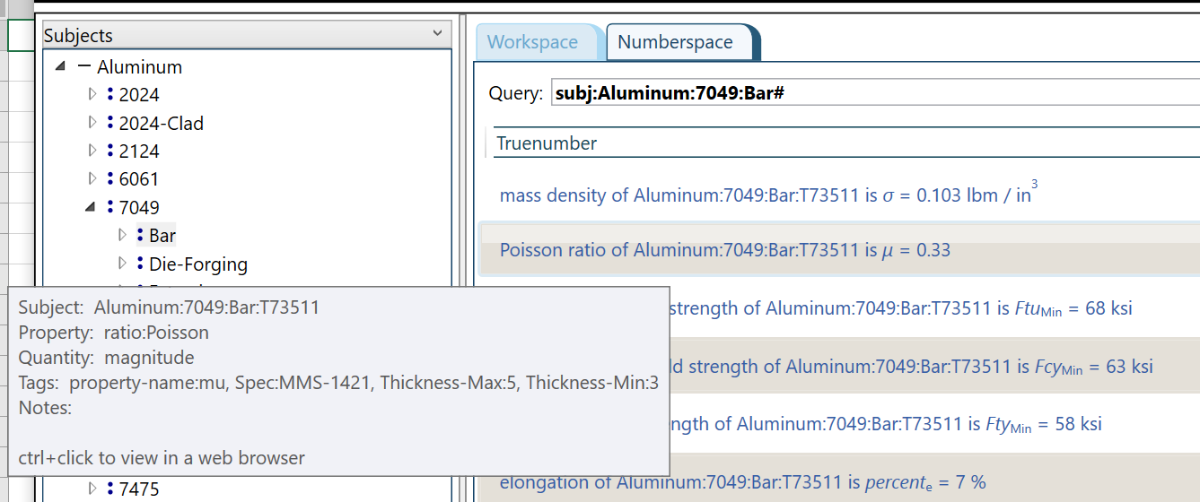 Searching for properties of 7049aluminum bar stock using a path in a subject tree