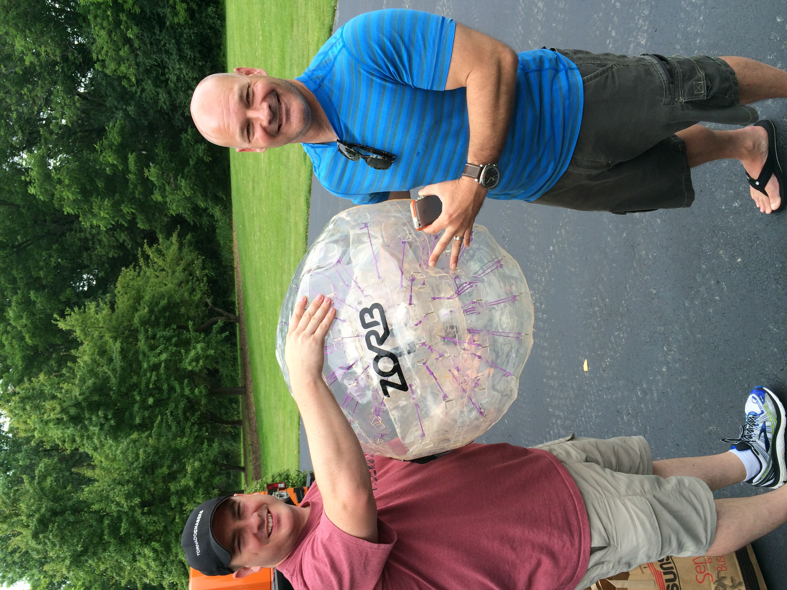 Ray Bohac (left) and Bill Beach (right) after testing the use of a zorb ball.. a new possible deployment system