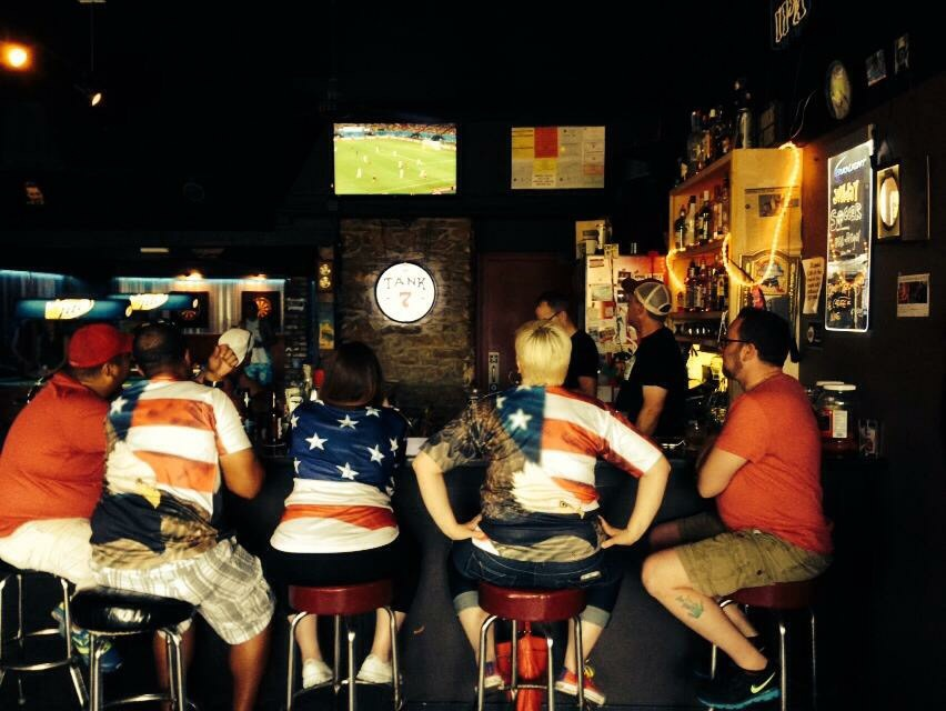 Happy customers at Franks Bar enjoying the women's World Cup