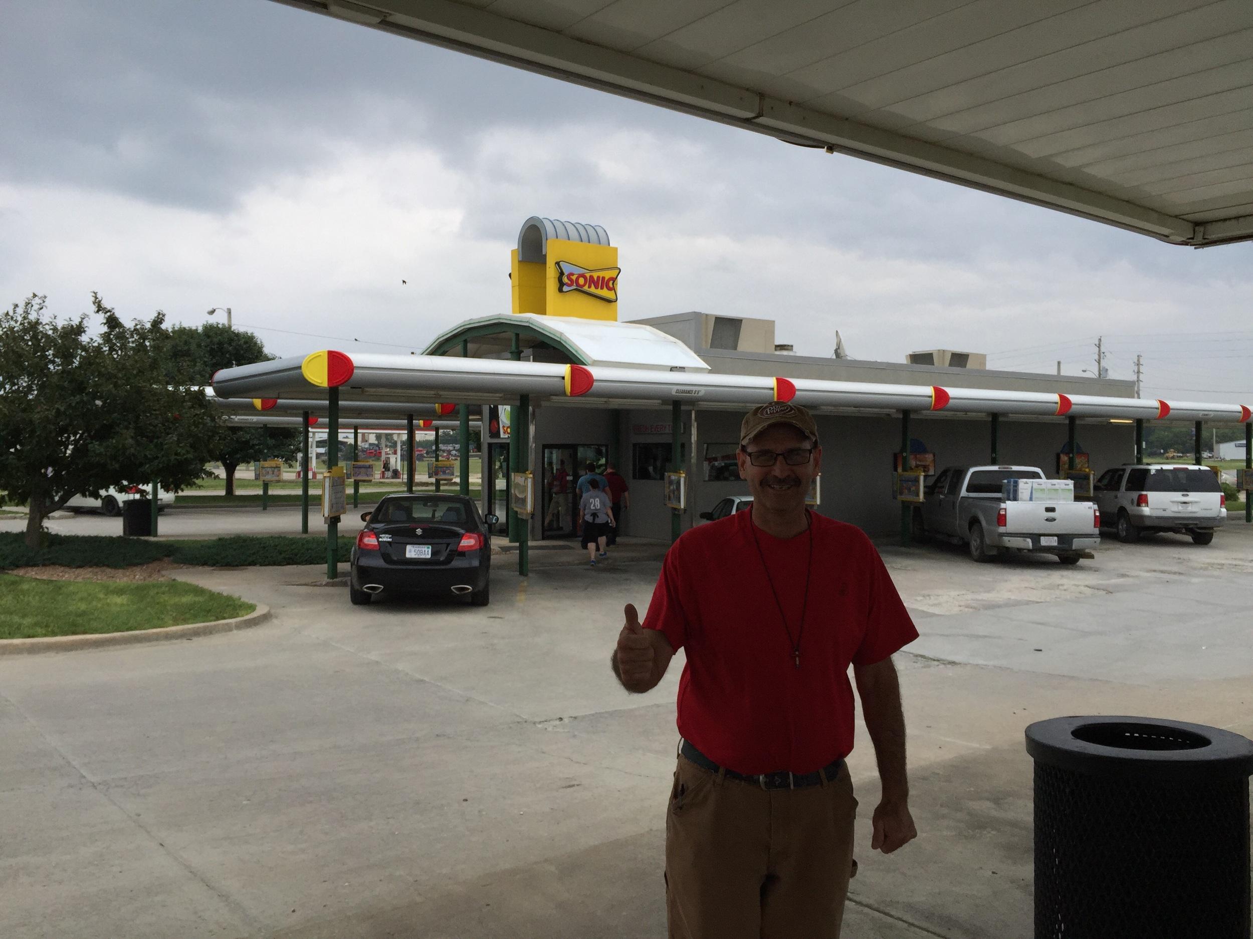Jason Sjorlund in front of his Hillsboro Kansas Sonic