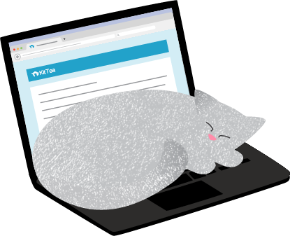 Illustration of a cat sleeping on a laptop.