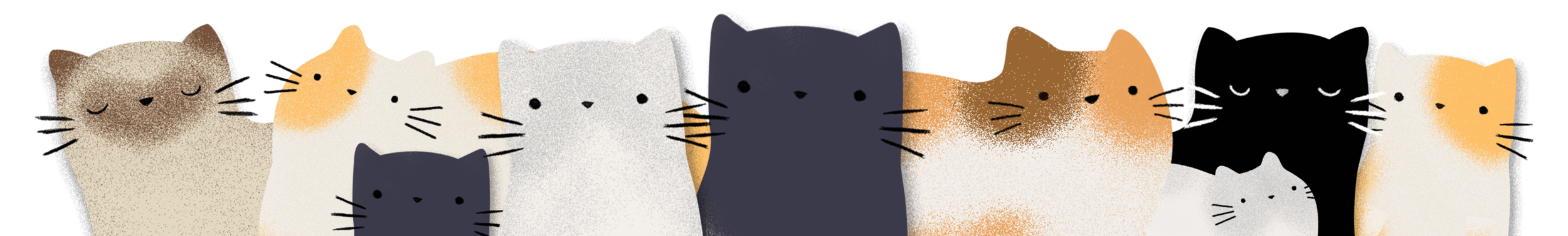 This is a banner image with lots of illustrated cats in a minimalist style.