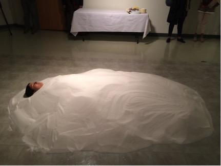 Amy Malbeauf buried in sugar.   Photo: Annie Smith