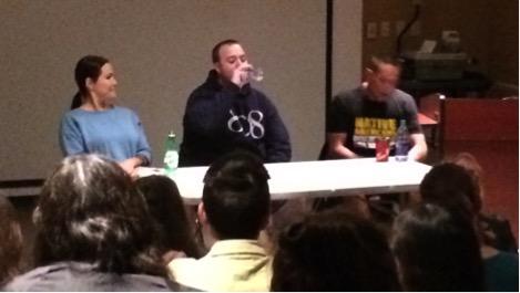 Lindsay Knight, aka Eekwol; Chris Merk, aka Merky Waters; and Brad Bellegarde, aka InfoRed. Photo: Annie Smith