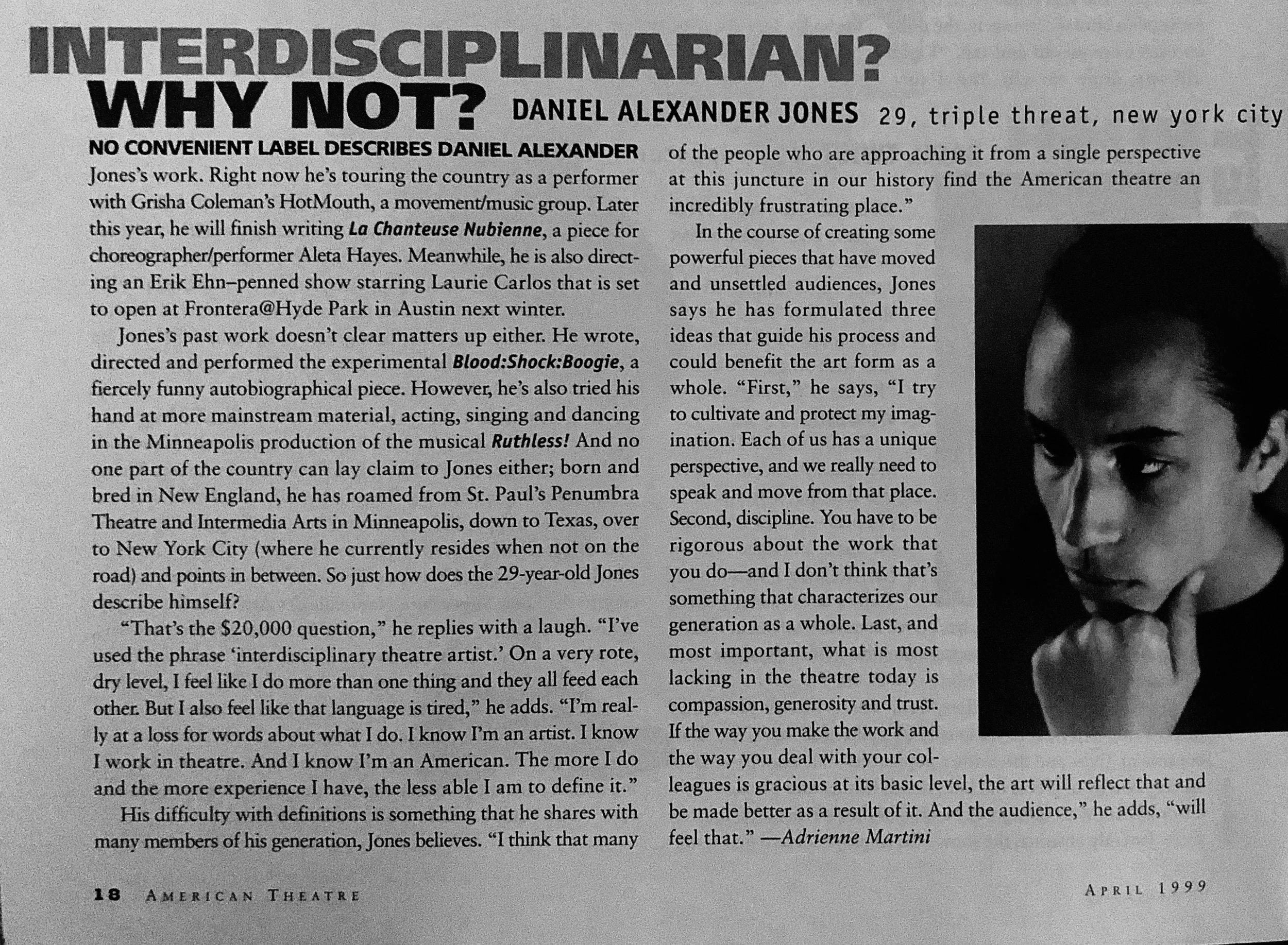 American Theatre Magazine, 1999.