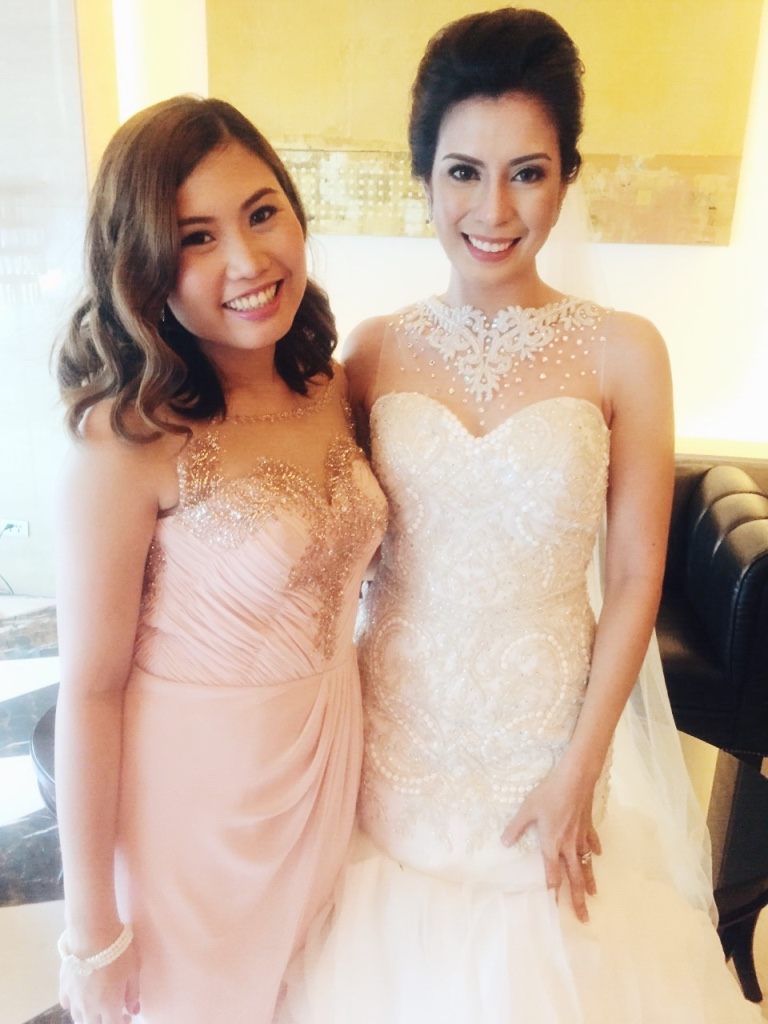I'm wearing a creation by Melvin Medenilla and the bride wore Zandra Lim, Makeup by Eds Go