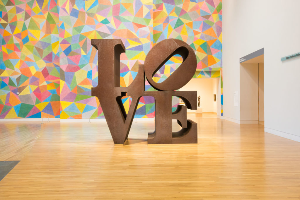 Robert Indiana's  LOVE (1970) at Newfields. Image courtesy of Newfields.